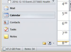 A picture showing the Nav buttons in MS Outlook 2010