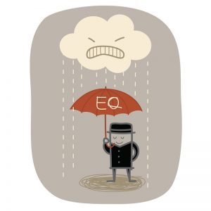Cartoon figurine man standing calmly under an umbrella whilst being rained on by angry thoughts. It's time to develop your emotional intelligence.