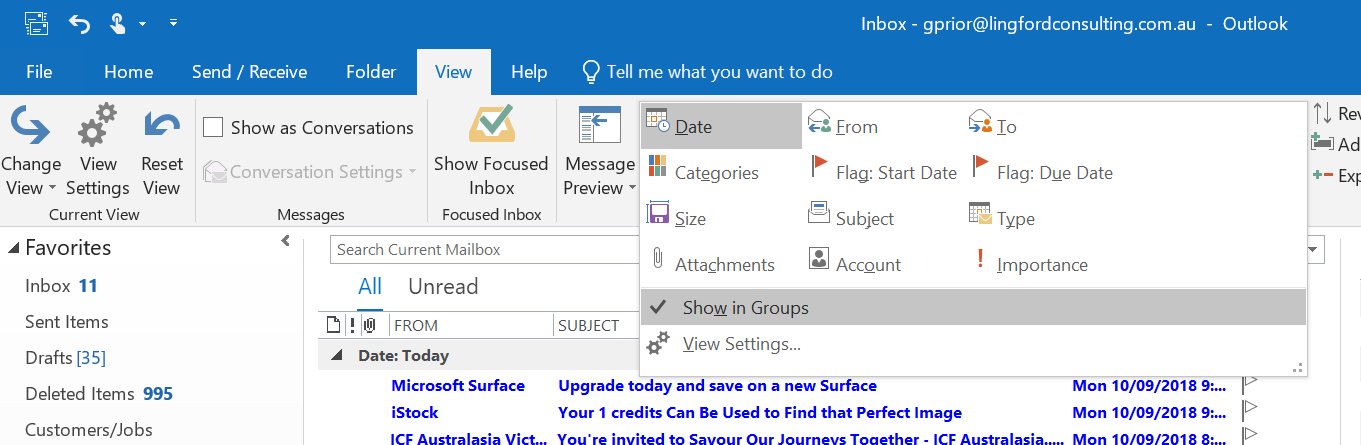 Outlook Email Inbox Group By Options
