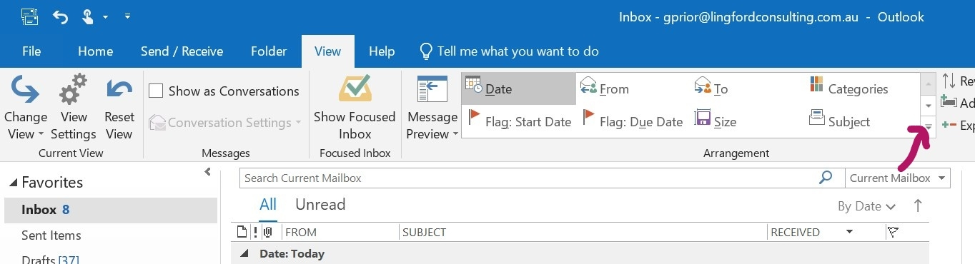 Outlook Inbox Arrange By Options under View Tab