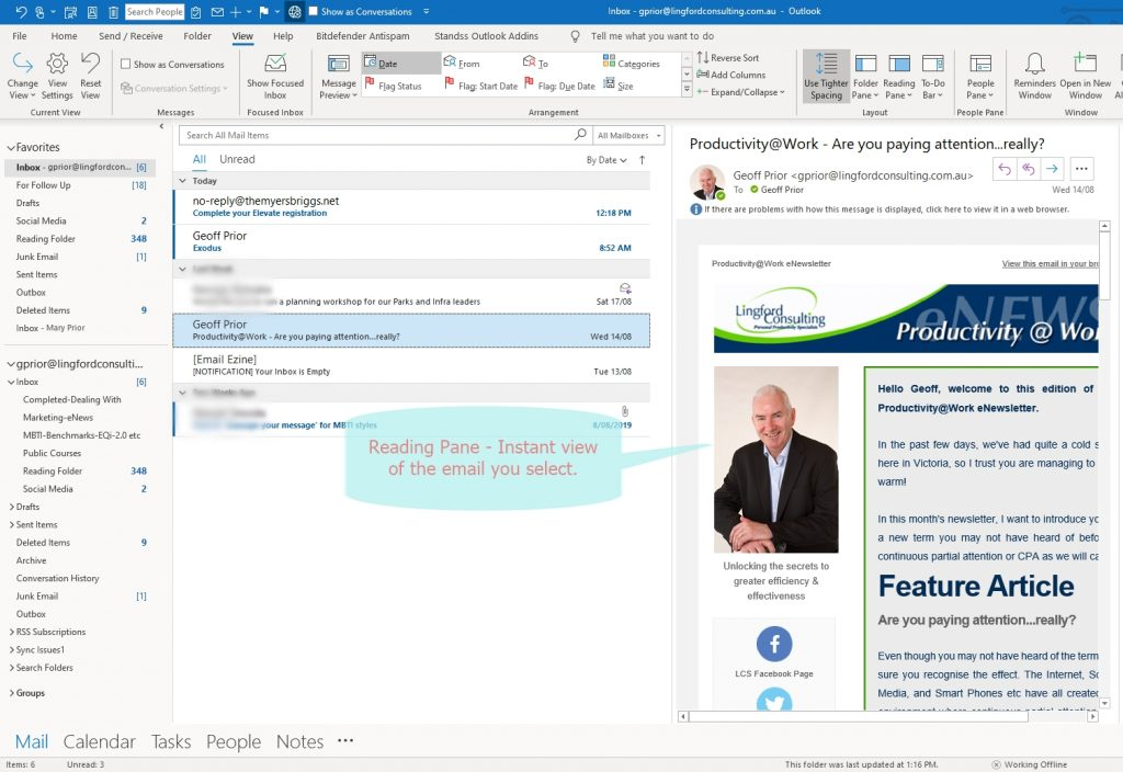 View of my Inbox with Outlook Reading Pane turned on.