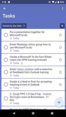 Screenshot of Microsoft To Do App