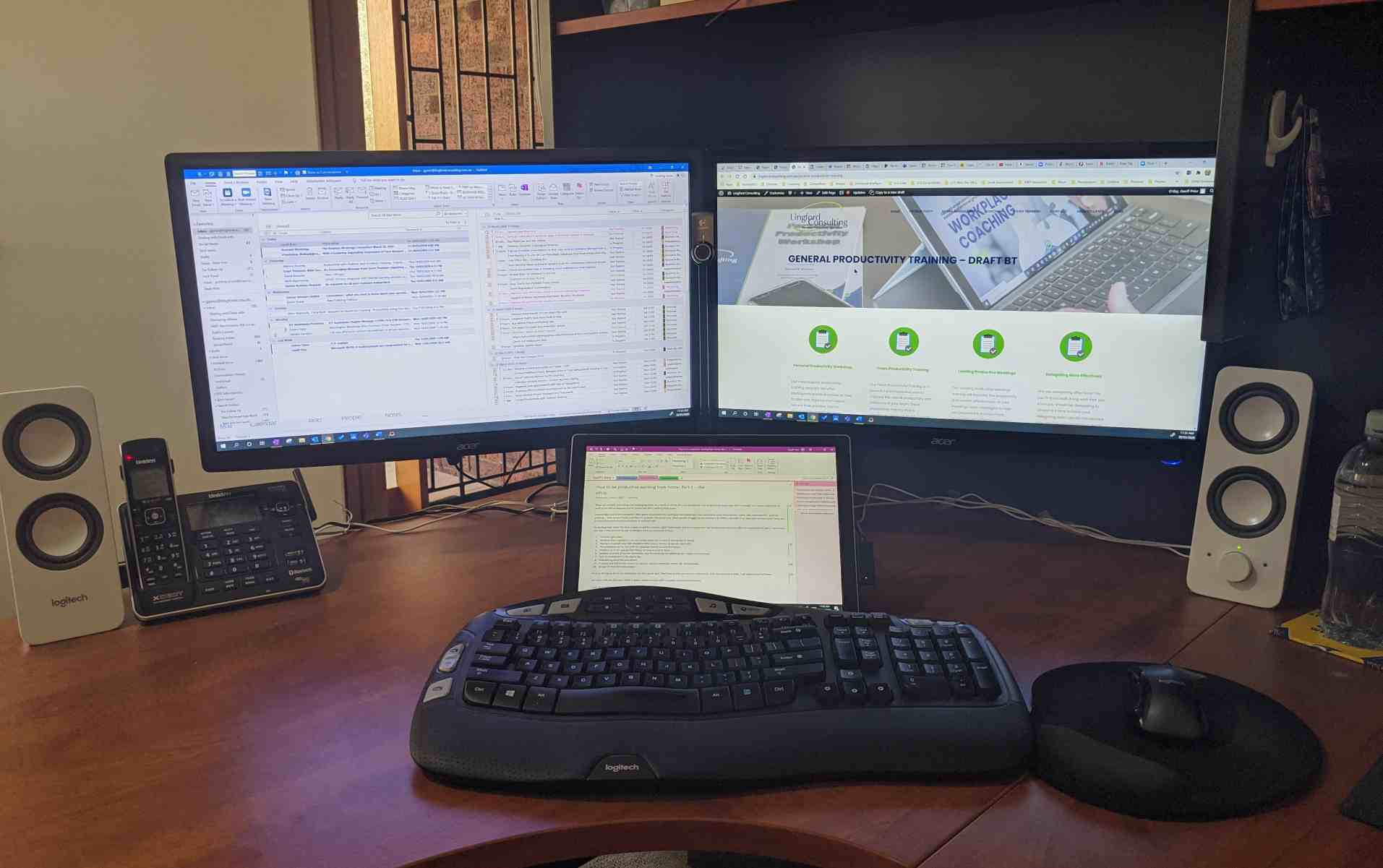 My home office 3 screen set up. Being productive working from home