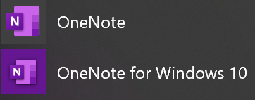 Picture of Windows 10 Menu items for Microsoft OneNote