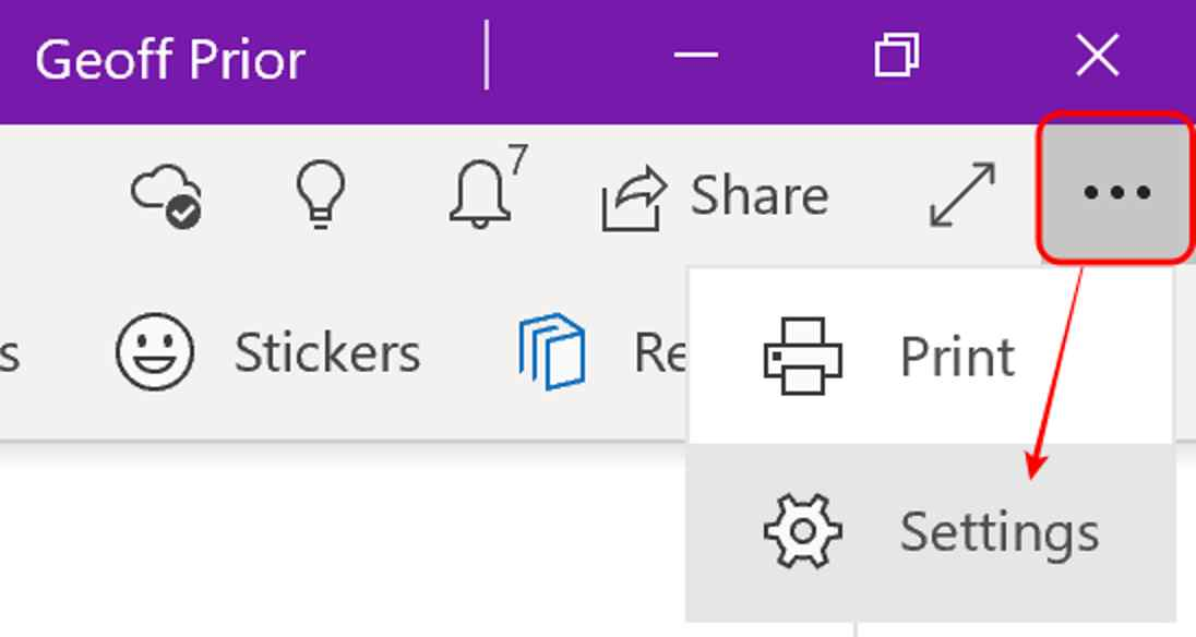 Microsoft OneNote Windows 10 Settings