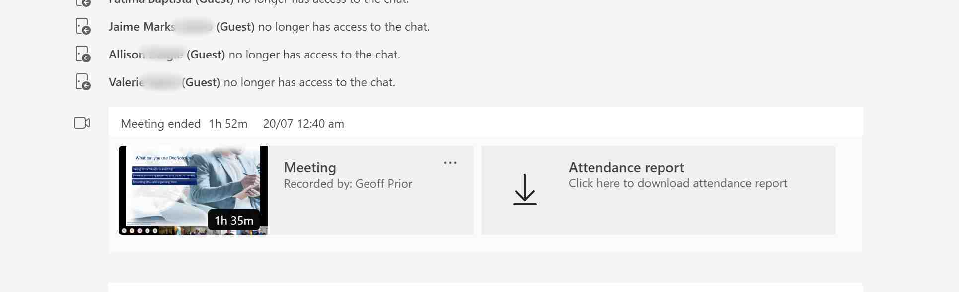 A Screenshot showing the Microsoft Teams Meeting Recording appearing in the Chat