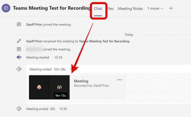 Teams recording saved in Meeting Chat