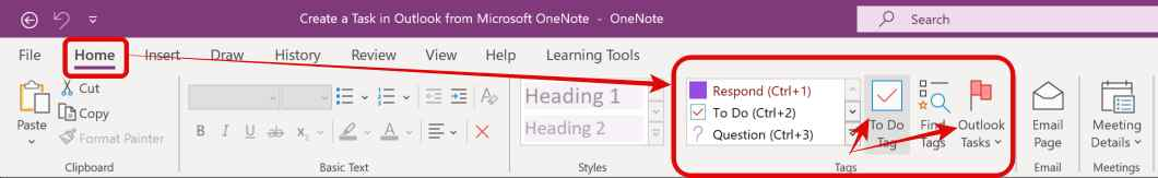 Tags in Microsoft OneNote - Create an Outlook Task in Onenote