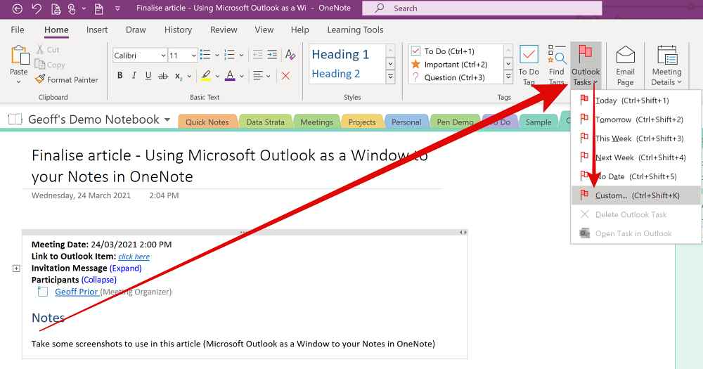 Outlook Tasks Tag in Microsoft OneNote. Create an Outlook Task in Onenote