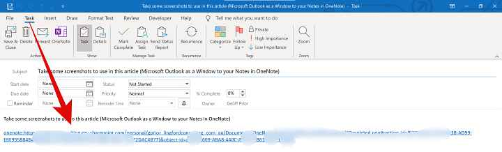 Picture of Outlook Task with a link back to Microsoft OneNote after you have created an Outlook Task in Onenote